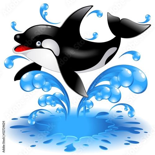 Staande foto Dolfijnen Happy Jumping Killer Whale Cartoon-Orca Salta in Acqua-Vector