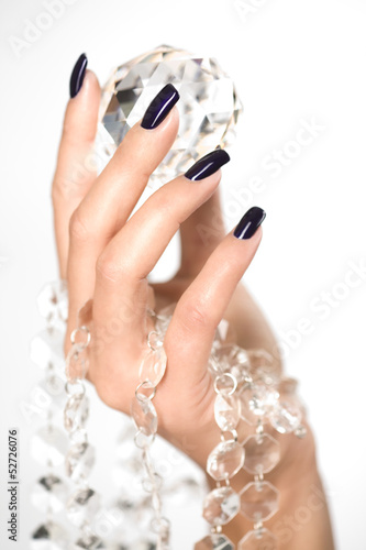 Valokuvatapetti Beautiful woman hands with big diamond