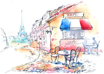 Panel Szklany Do kawiarni France