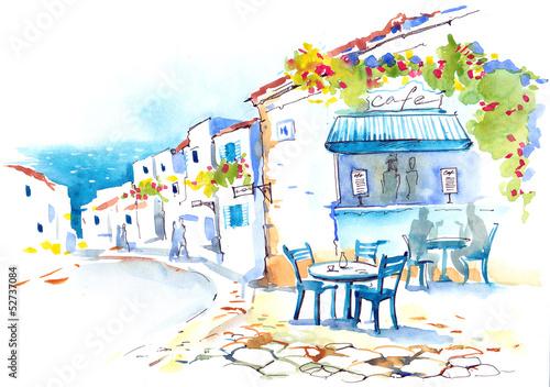 Foto op Canvas Drawn Street cafe Greece