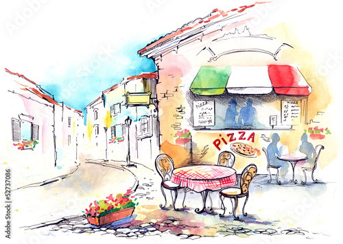 Tuinposter Drawn Street cafe Italy