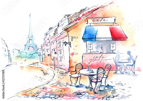 Photo sur Toile Drawn Street cafe France