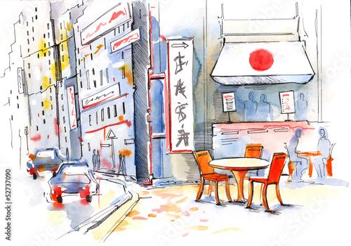 Foto auf AluDibond Gezeichnet Straßenkaffee Japan