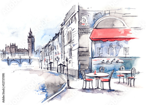 Photo sur Toile Drawn Street cafe England
