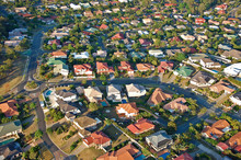 Aerial View Of The Suburbs Roofs Near Brisbane, Australia.