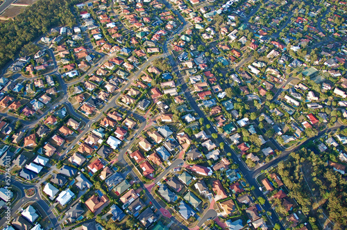 Poster Australië Aerial view of the suburbs roofs near Brisbane, Australia