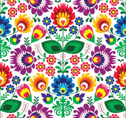 Naklejka Popularne Seamless traditional floral polish pattern - ethnic background