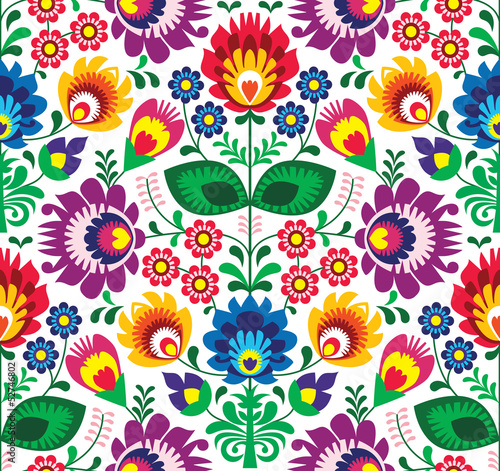 Obraz Seamless traditional floral polish pattern - ethnic background - fototapety do salonu
