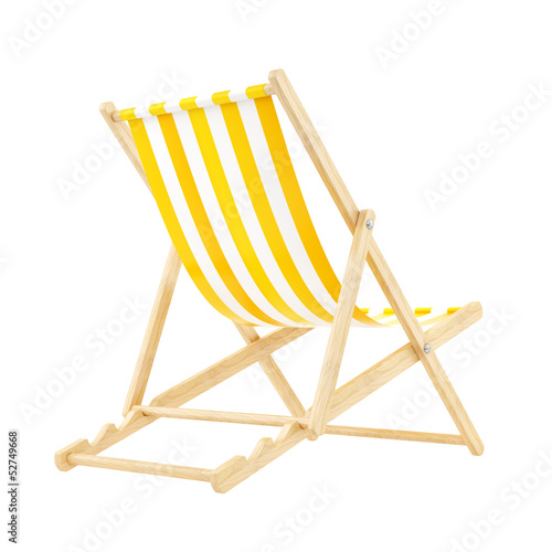 render of a yellow deck chair, isolated on white Tapéta, Fotótapéta