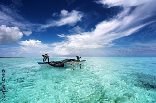 fishing in a beautiful lagoon