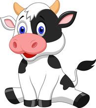 Cute Cow Cartoon Sitting