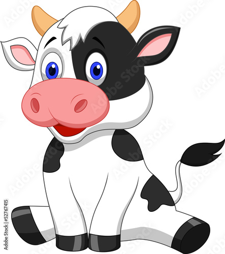 Fotobehang Boerderij Cute cow cartoon sitting