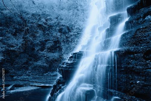 Küchenrückwand aus Glas mit Foto Wasserfalle natural cacade in the park