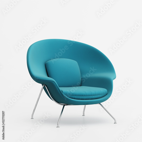 Fotografie, Obraz  Isolated blue classic armchair, icon of american design