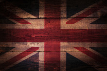 A Abstract Grunge British Flag On Oak Boards.