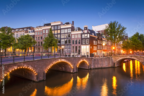Canvas Prints Amsterdam Amsterdam tranquil canal scene, Holland