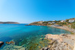 Greece Syros island, panoramic view on sandy beach during summer