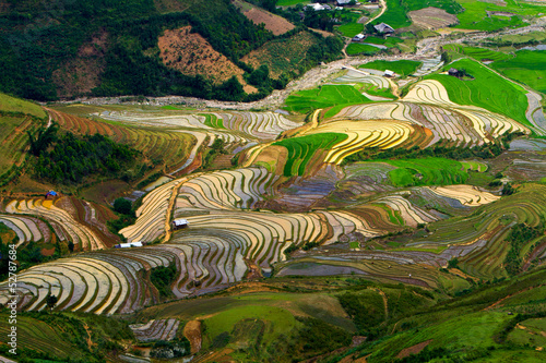 Photo  terraced rice fields with water in Mu Cang Chai