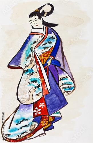 Nowoczesny obraz na płótnie Japanese young woman in traditional dress