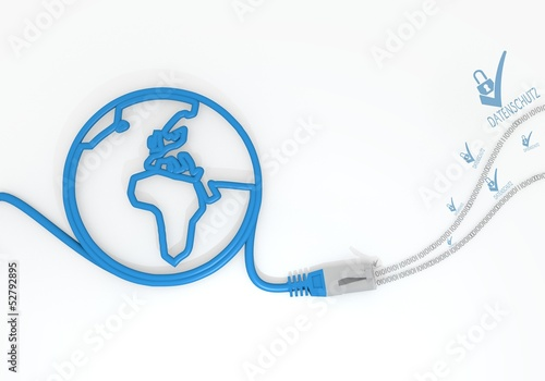 Data Protection Icon With Network Cable And World Symbol Buy This