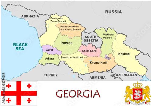 Georgia On Map Of Europe.Georgia Europe Emblem Map Symbol Administrative Divisions Buy This