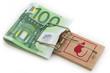 Euro-Scheine in Mausefalle