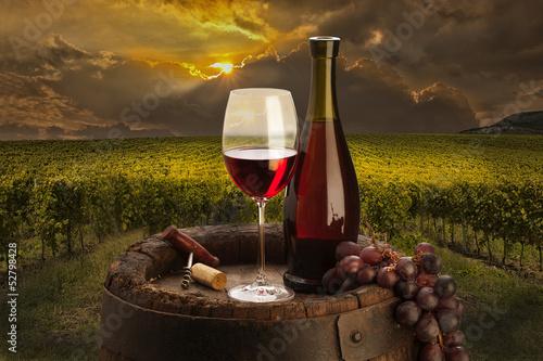 butelka-i-kielich-z-czerwonym-winem-w-winnicy-o-zachodzie-slonca