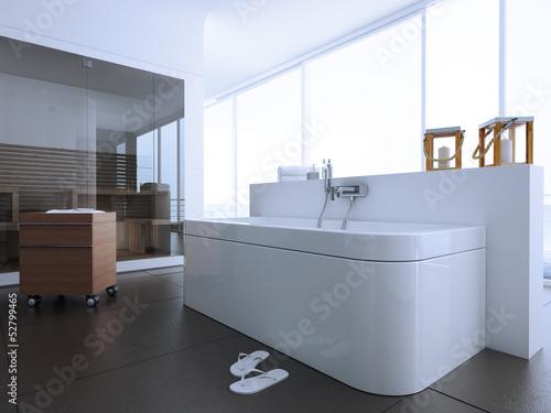 Helles Modernes Badezimmer Mit Sauna Buy This Stock Illustration - Badezimmer mit sauna