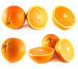 Oranges collection isolated on white background.
