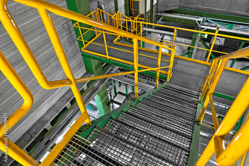 Industrial Interior with large staircase Canvas Print