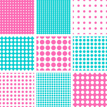 Seamless Polka Dot Vector Pattern In Hot Pink & Turquoise Colors