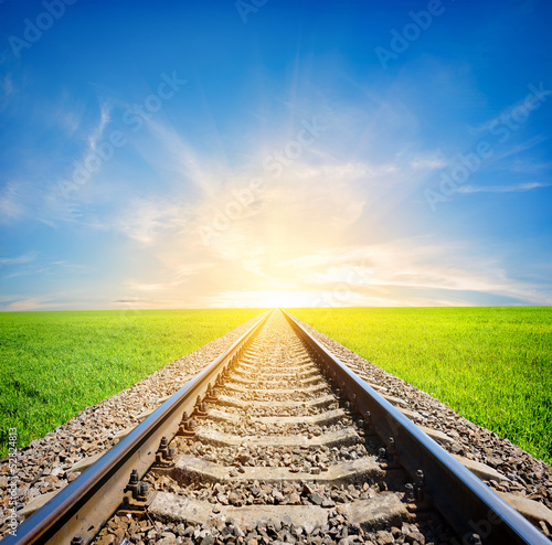 Poster Railroad Railway in field