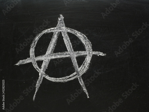 Valokuva  Anarchy Symbol on a Blackboard