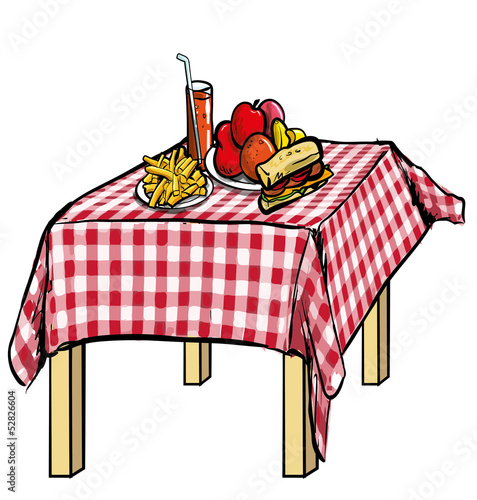 Keuken foto achterwand Picknick illustration of a picnic table with food on it.