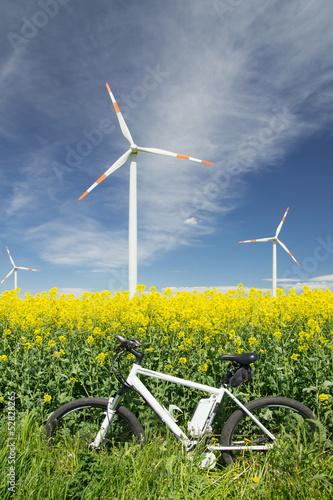 Deurstickers Fietsen e-bike, pedelec, windrad, raps, öko, fahrrad