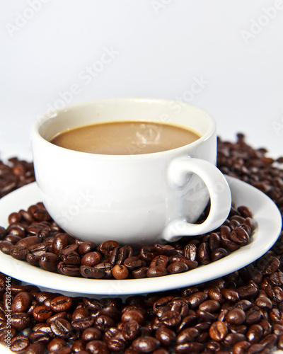 Wall Murals Cafe Coffee beans and coffee cup
