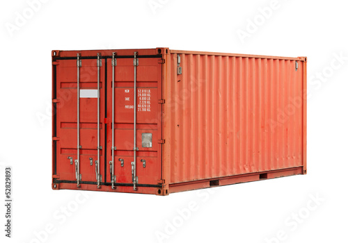 Fotografia  Bright red metal freight shipping container isolated on white