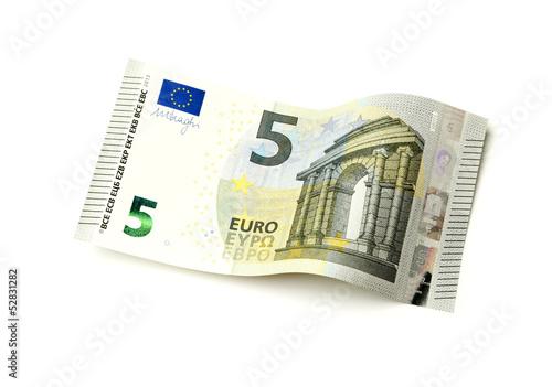 Photographie  Neuer fünf Euro Schein isoliert auf weiß