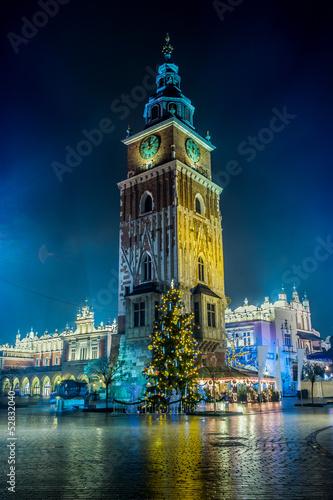 Fototapeta Poland, Krakow. Market Square at night. obraz