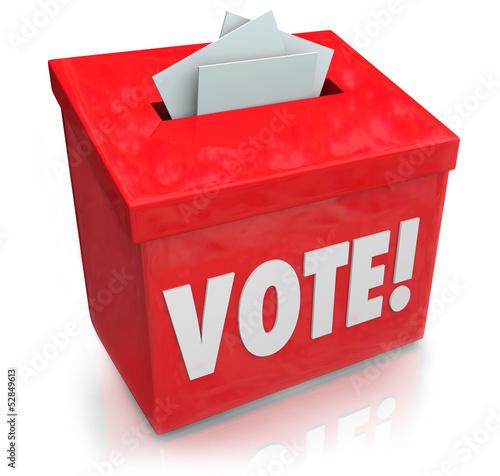 Fotografie, Obraz  Vote Word Ballot Box Election Democracy