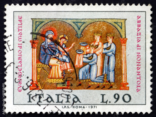 Photo  Postage stamp Italy 1971 Adoration of the Kings, Christmas