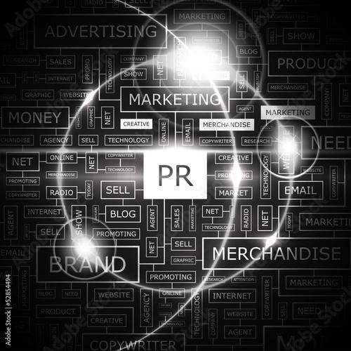 Fotografía  PR. Word cloud concept illustration.