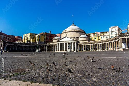 Fényképezés  Pigeons near San Francesko Paola, Piazza del Plebiscito, Naples