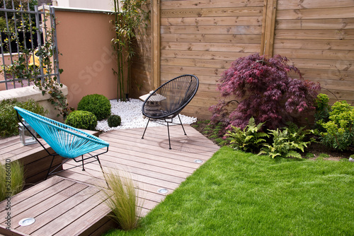 Photo  Terrasse et jardin moderne, coin zen