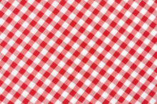 Red And White Diagonal Tablecloth Texture Background
