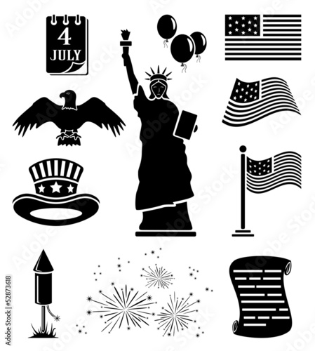 Poster de jardin Oiseaux en cage Independence day icons