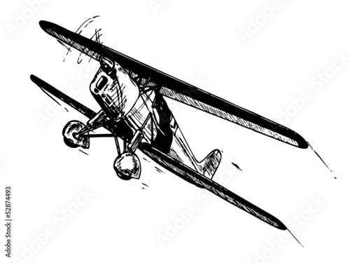 Biplane aircraft in flight. Vintage style vector illustration. Fototapeta