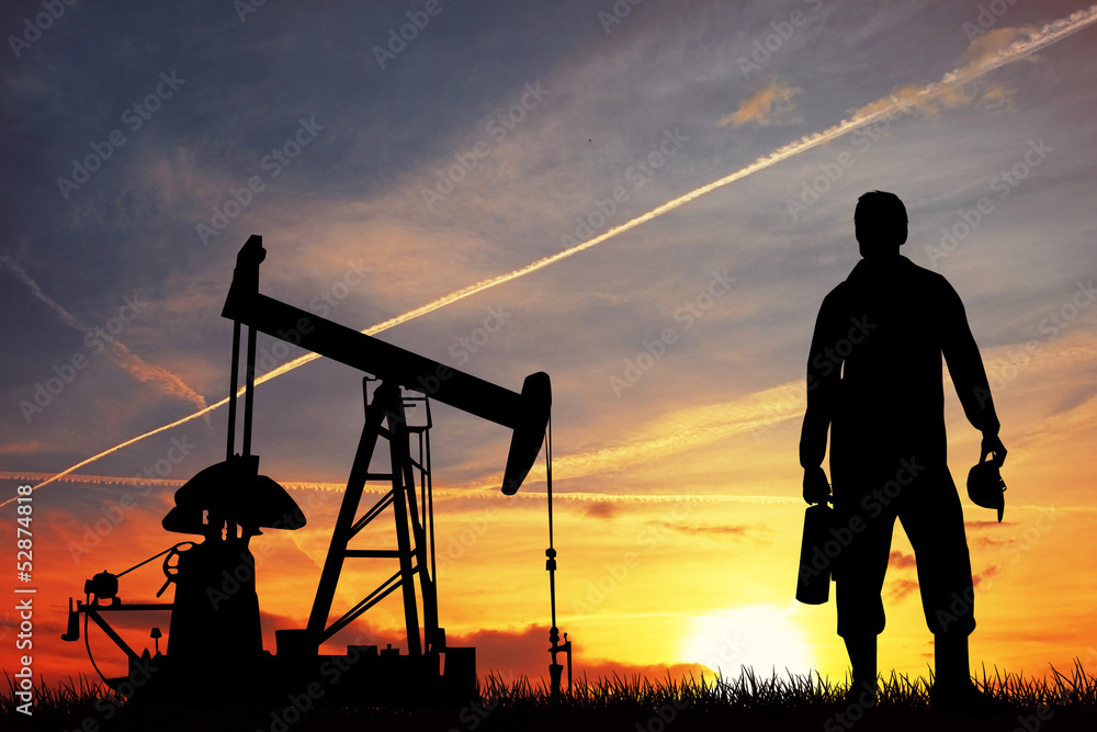 Fototapety, obrazy: Oil pump at sunset