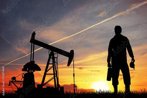 Fototapeta Oil pump at sunset obraz