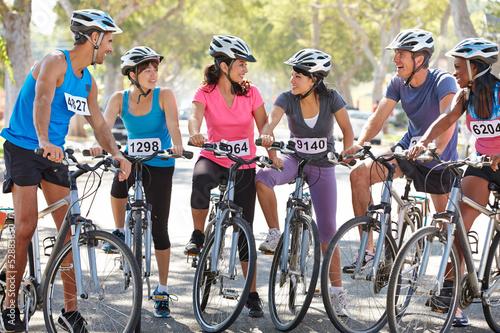 Foto op Aluminium Portrait Of Cycling Club On Suburban Street